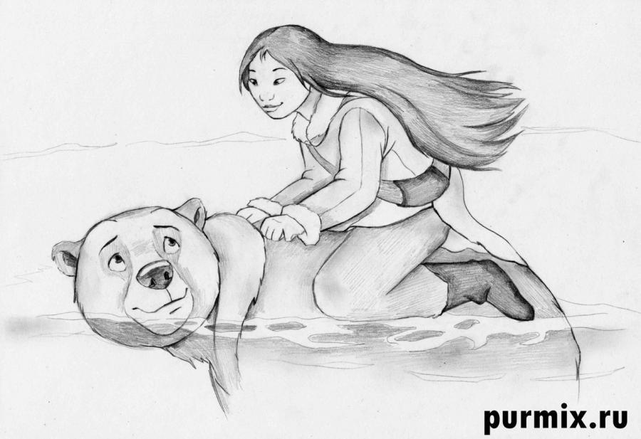 Рисуем Кеная и Ниту из Братец медвежонок 2