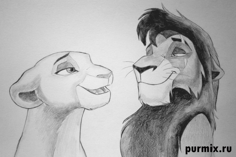 Как нарисовать Киару и Кову из Король лев-2: Гордость Симбы - шаг 6
