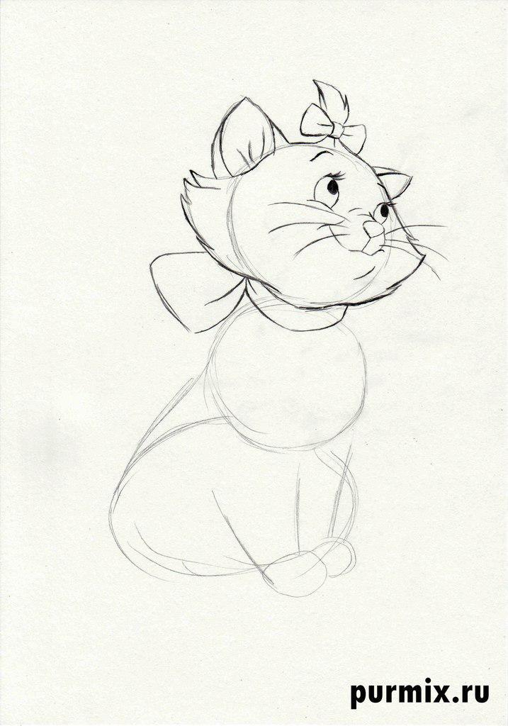 Как нарисовать кошечку Мари из Котов Аристократов поэтапно