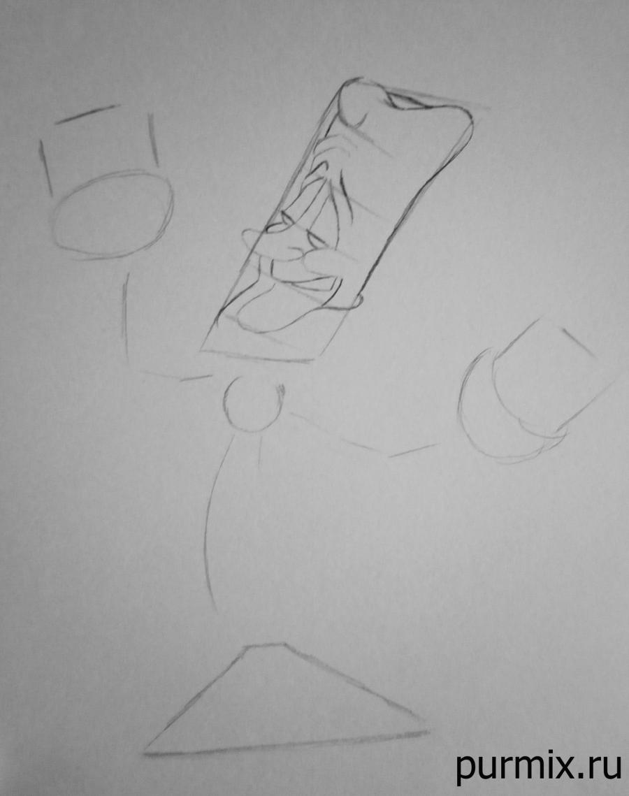 Как нарисовать Люмьера из Красавица и Чудовище простым карандашом