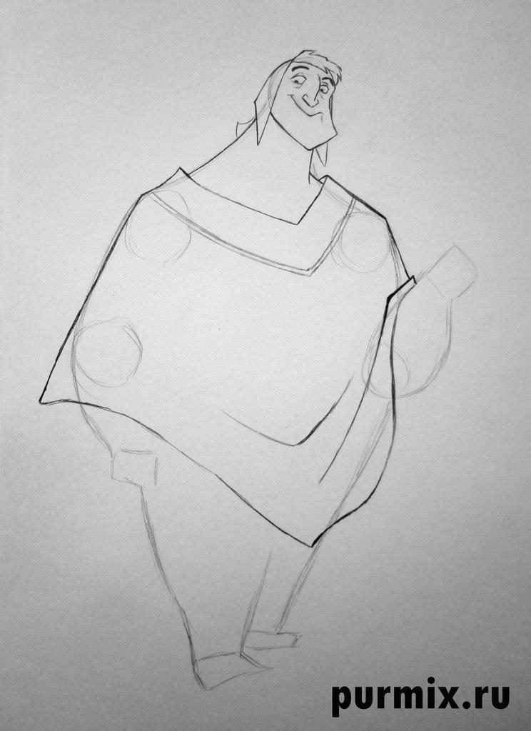 Рисуем Пачу из Похождения императора простым - шаг 3