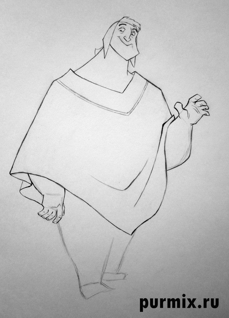 Рисуем Пачу из Похождения императора простым - шаг 4