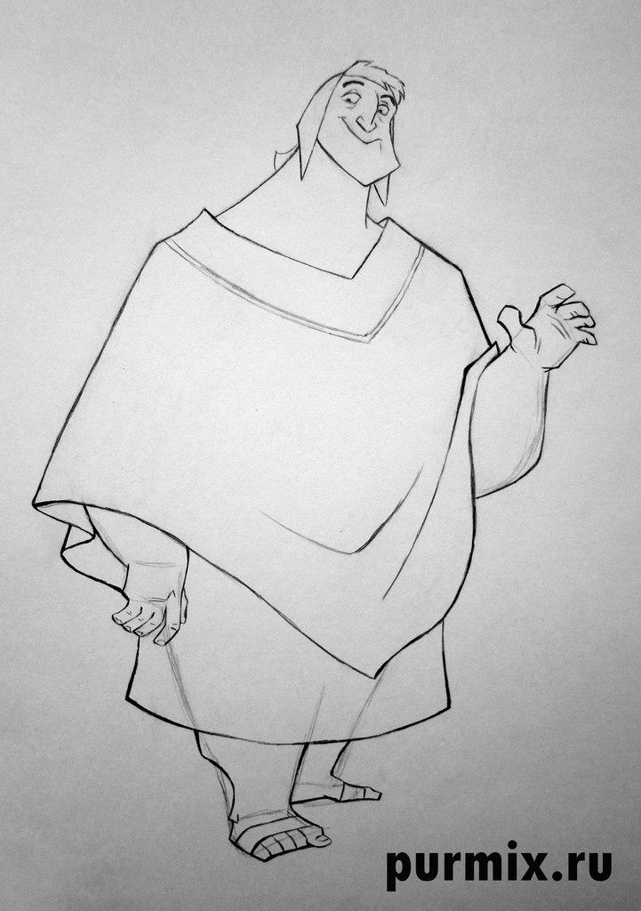 Рисуем Пачу из Похождения императора простым - шаг 5