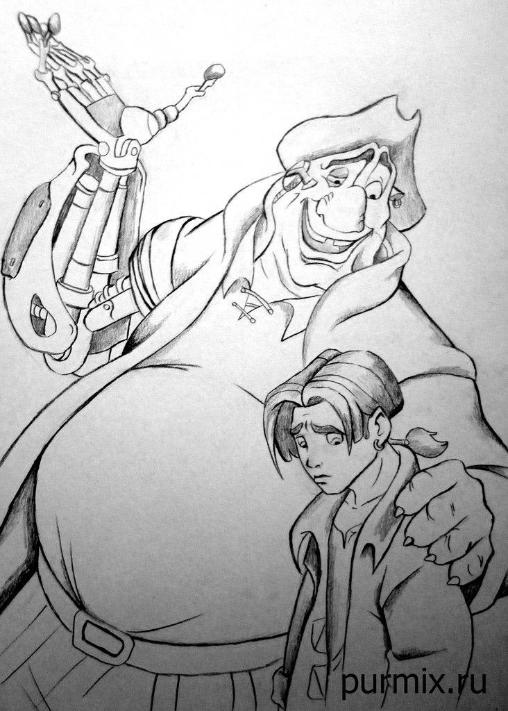 Как нарисовать пирата Джона Сильвера и Джима из Планета сокровищ