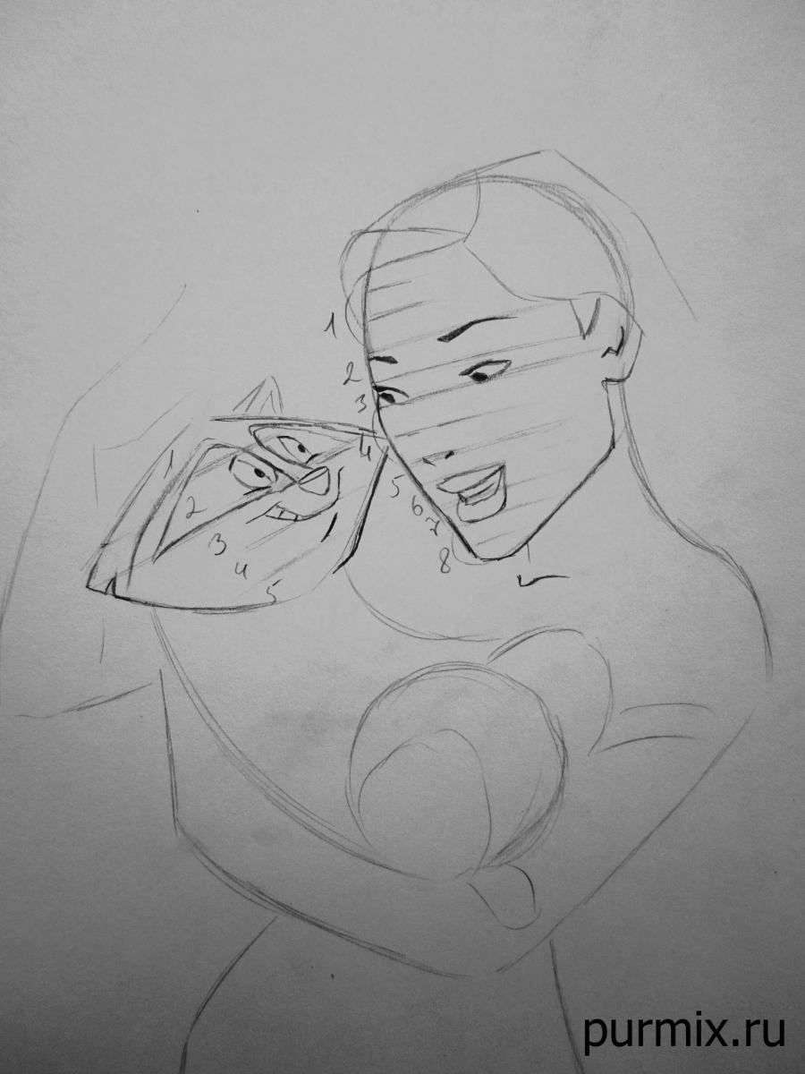 Рисуем Покахонтас и енота Мико простым