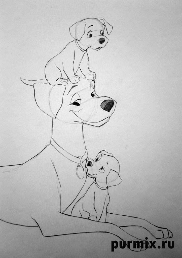 Рисуем Понго и щенков из 101 далматинец