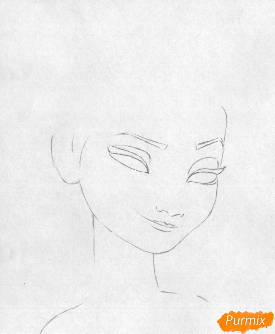 Рисуем портрет Эльзы карандашами и черной ручкой - фото 1