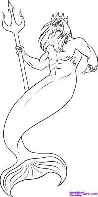 Фото Посейдона из мультфильма Русалочка карандашом