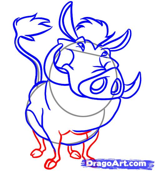 Рисуем Пумба из Король лев - шаг 5