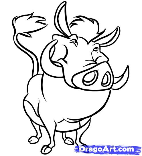 Как нарисовать Пумба из Король лев карандашом поэтапно