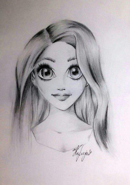 Рисуем Рапунцель карандашами - шаг 9