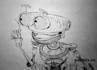 Фото робота Б.Э.Н.а из Планета сокровищ карандашом