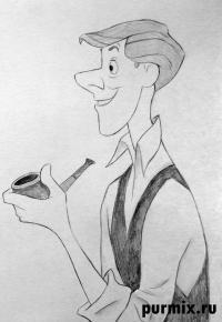Роджера из мультфильма 101 далматинец карандашом