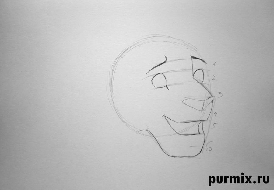 Рисуем Симбу из Король лев 2 - шаг 2