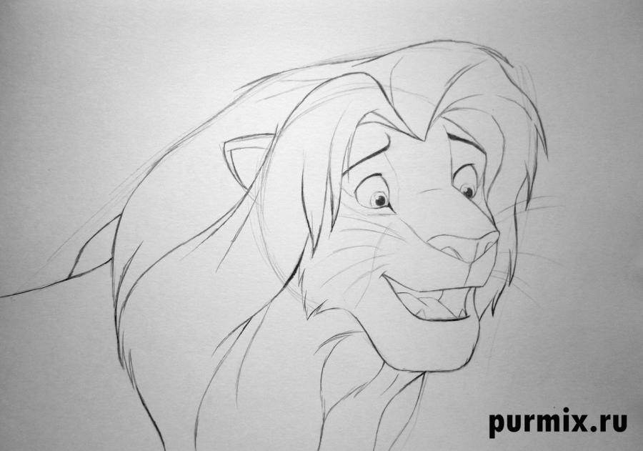 Рисуем взрослого Симбу из Король лев 2 - фото 4
