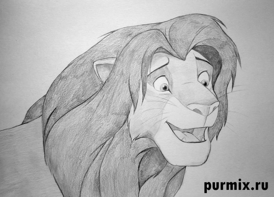 Как нарисовать Симбу из Король Лев карандашом поэтапно
