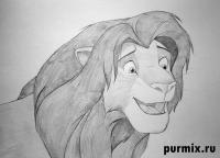 Фото Симбу из Король лев простым карандашом