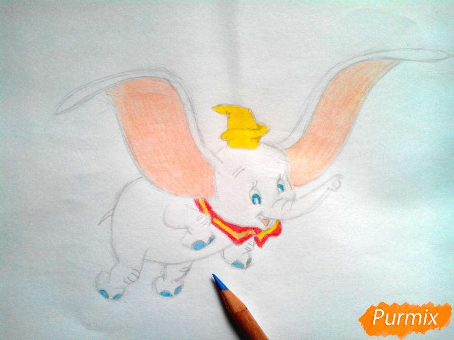 Как нарисовать слоненка Дамбо цветными карандашами поэтапно - шаг 10