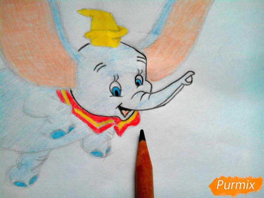 Как нарисовать слоненка Дамбо цветными карандашами поэтапно - шаг 12