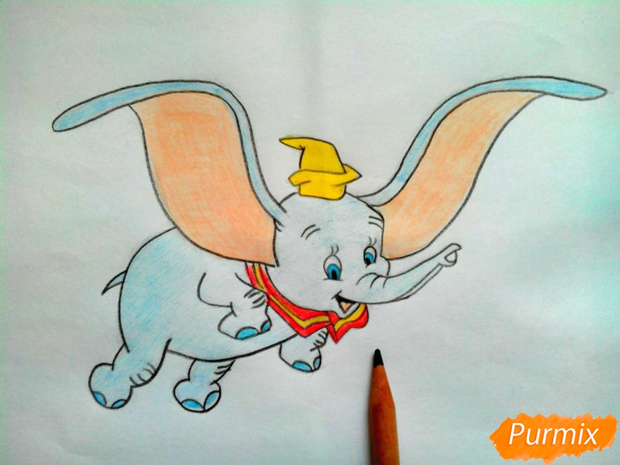 Как нарисовать слоненка Дамбо цветными карандашами поэтапно - шаг 13