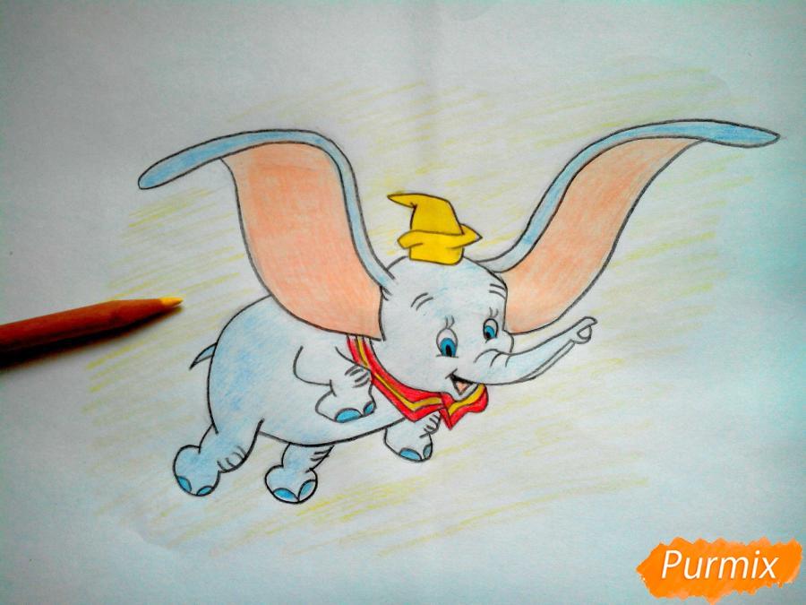 Как нарисовать слоненка Дамбо цветными карандашами поэтапно - шаг 14