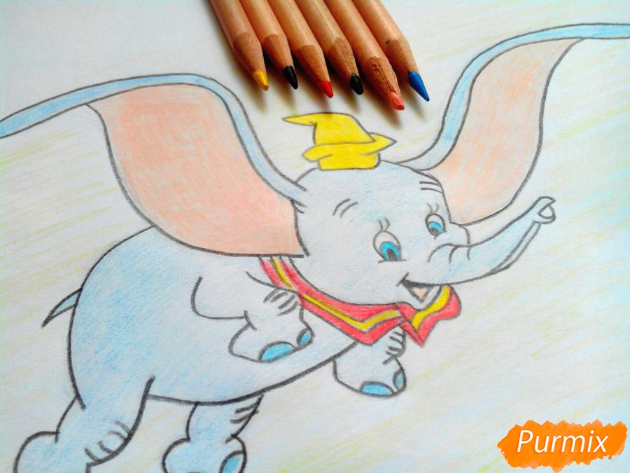Как нарисовать слоненка Дамбо цветными карандашами поэтапно
