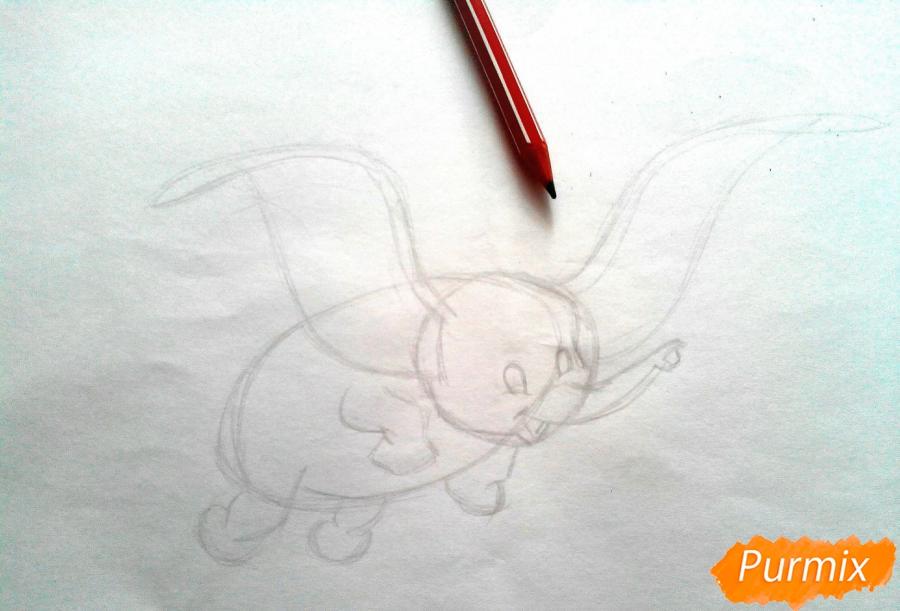 Как нарисовать слоненка Дамбо цветными карандашами поэтапно - шаг 2