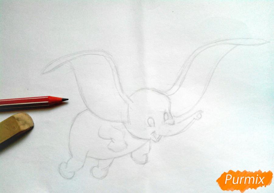 Как нарисовать слоненка Дамбо цветными карандашами поэтапно - шаг 3