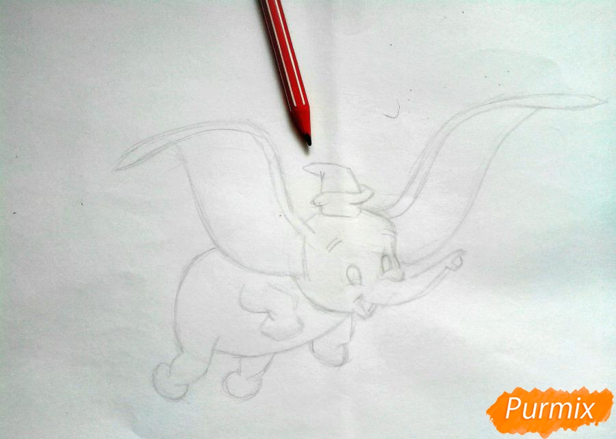 Как нарисовать слоненка Дамбо цветными карандашами поэтапно - шаг 4