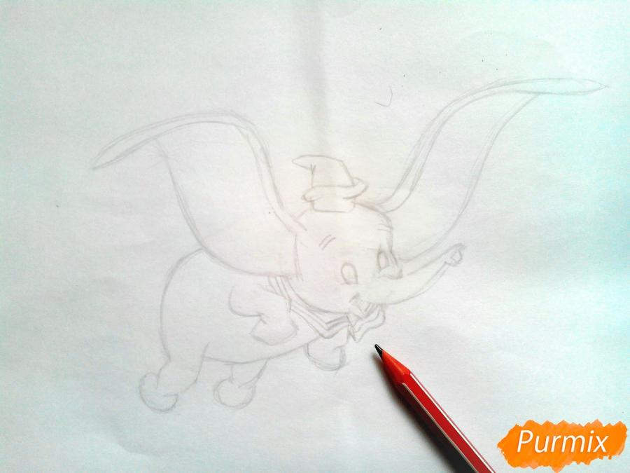 Как нарисовать слоненка Дамбо цветными карандашами поэтапно - шаг 5