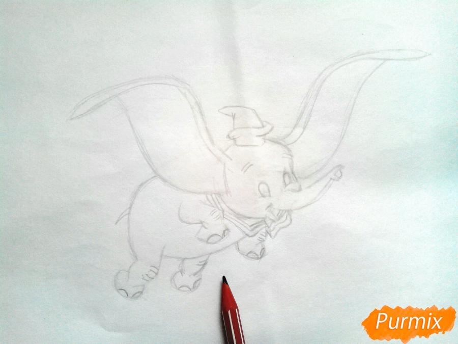 Как нарисовать слоненка Дамбо цветными карандашами поэтапно - шаг 6