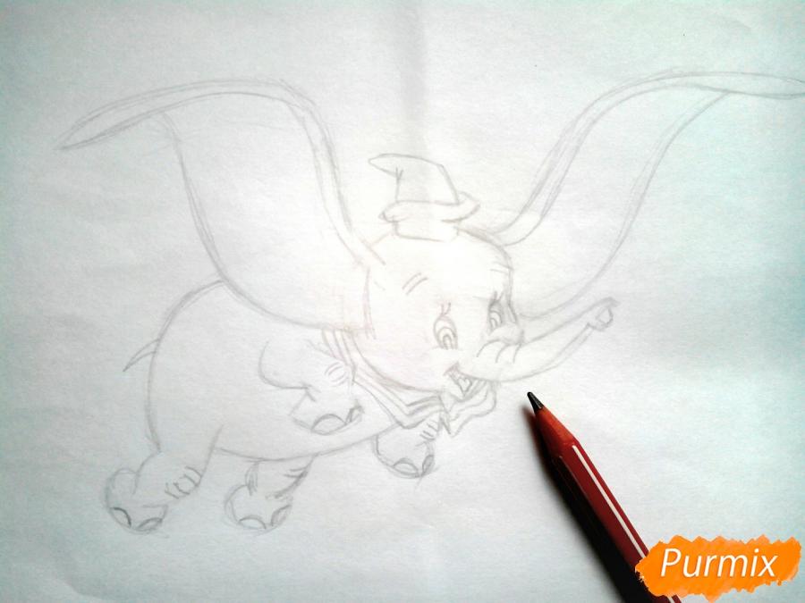 Как нарисовать слоненка Дамбо цветными карандашами поэтапно - шаг 7