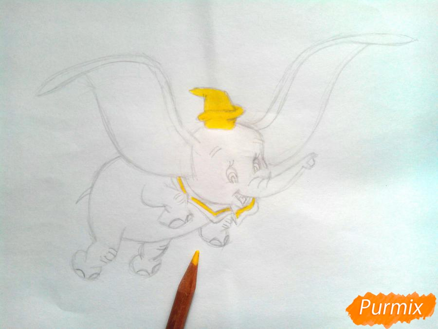 Как нарисовать слоненка Дамбо цветными карандашами поэтапно - шаг 8