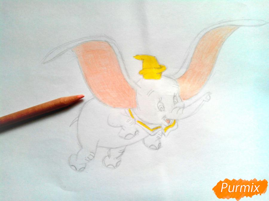 Как нарисовать слоненка Дамбо цветными карандашами поэтапно - шаг 9