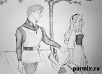 Аврору и Филиппа из Спящей красавицы карандашом