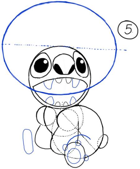 Рисуем Стича злого - шаг 5