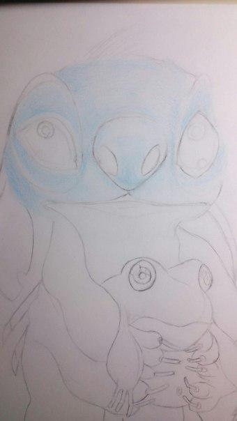 Рисуем Стича цветными карандашами - шаг 10