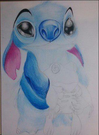 Рисуем Стича цветными карандашами - шаг 19