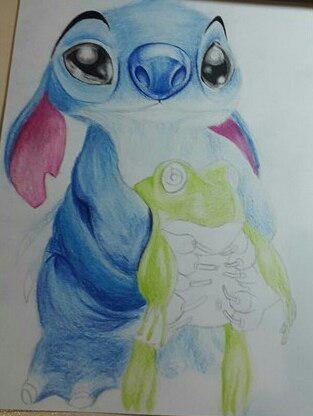 Рисуем Стича цветными карандашами - шаг 20