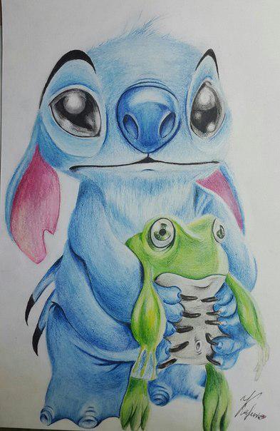 Рисуем Стича цветными карандашами - шаг 24