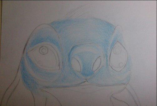 Рисуем Стича цветными карандашами - шаг 11