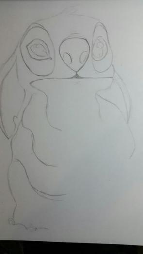 Рисуем Стича цветными карандашами - шаг 5