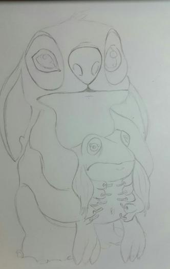 Рисуем Стича цветными карандашами - шаг 8