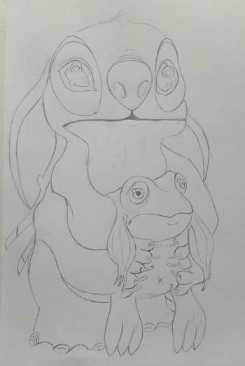 Рисуем Стича цветными карандашами - шаг 9