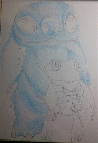 Рисуем Стича цветными карандашами - шаг 12