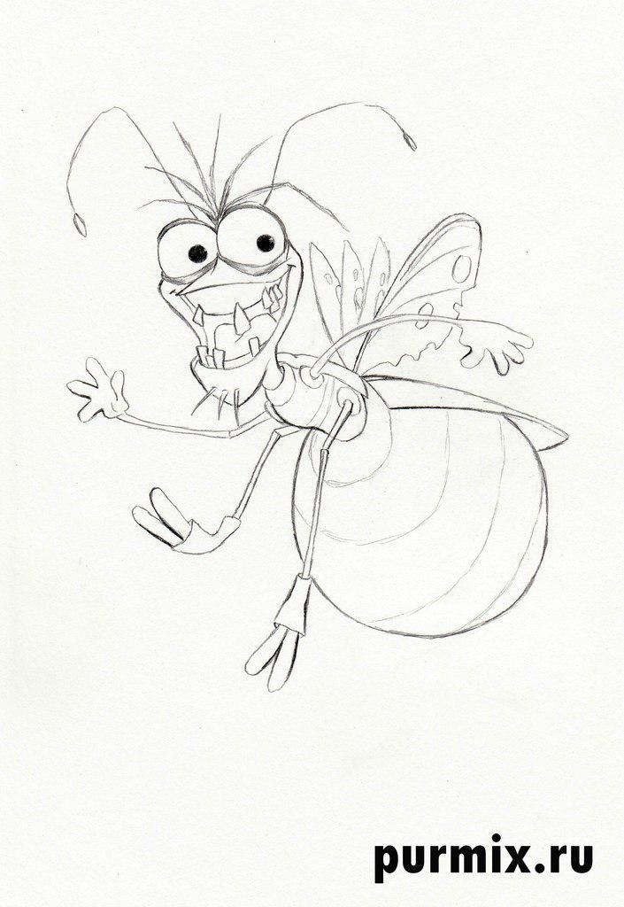 Как нарисовать светлячка Рея из Принцессы и лягушки карандашом