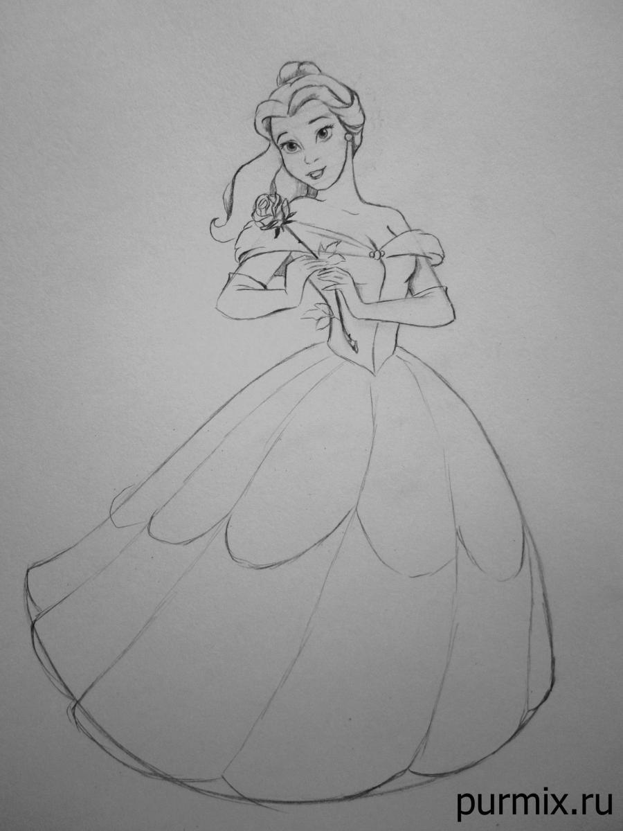 Как рисовать Белль из Красавица и Чудовище простым карандашом
