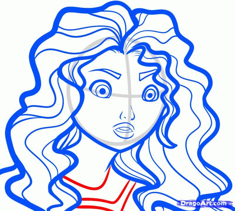 Как рисовать Мериду из мультфильма Храбрая сердцем