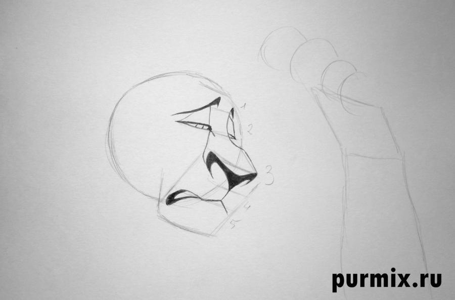 Как рисовать Шрама с мишкой - шаг 2