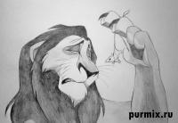 Как рисовать Шрама из Король лев простым карандашом на бумаге